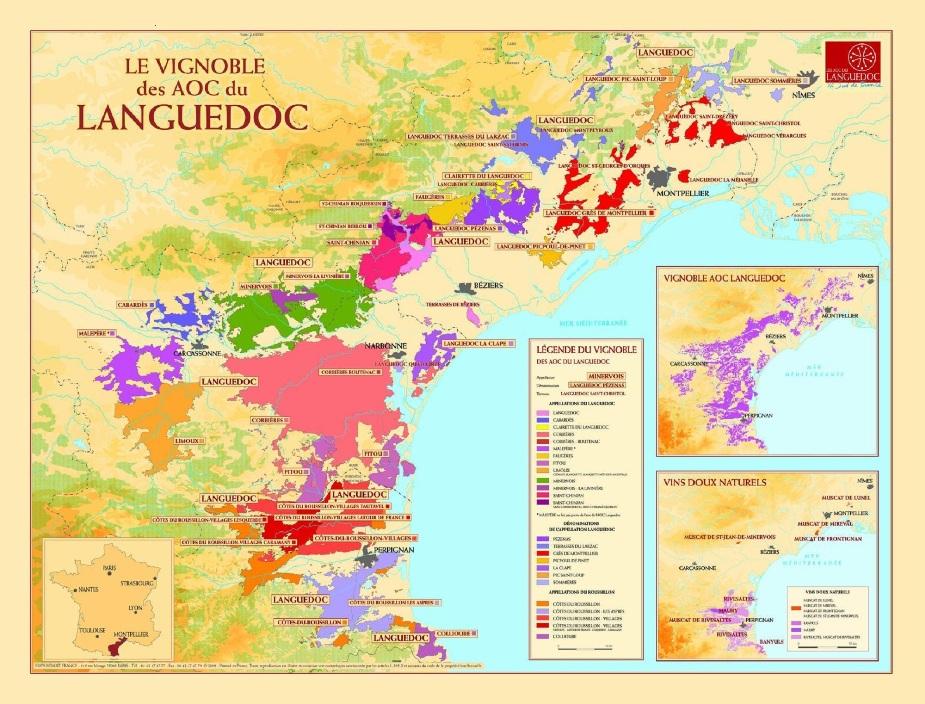 zzz Carte des AOC du Languedoc