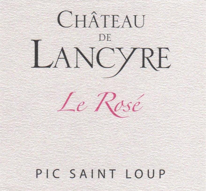 Etiquette de Rose vin rose Chateau de Lancyre AOC Coteaux du Languedoc  Pic Saint Loup