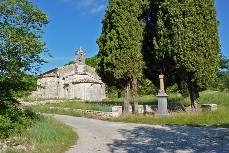 Romanesque Chapel of Aleyrac Chateau de Lancyre AOC Coteaux du Languedoc Pic Saint Loup